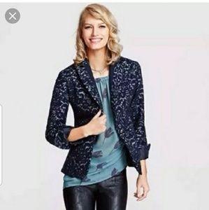 Cabi blazer 109 jacquard blue jacket size 6